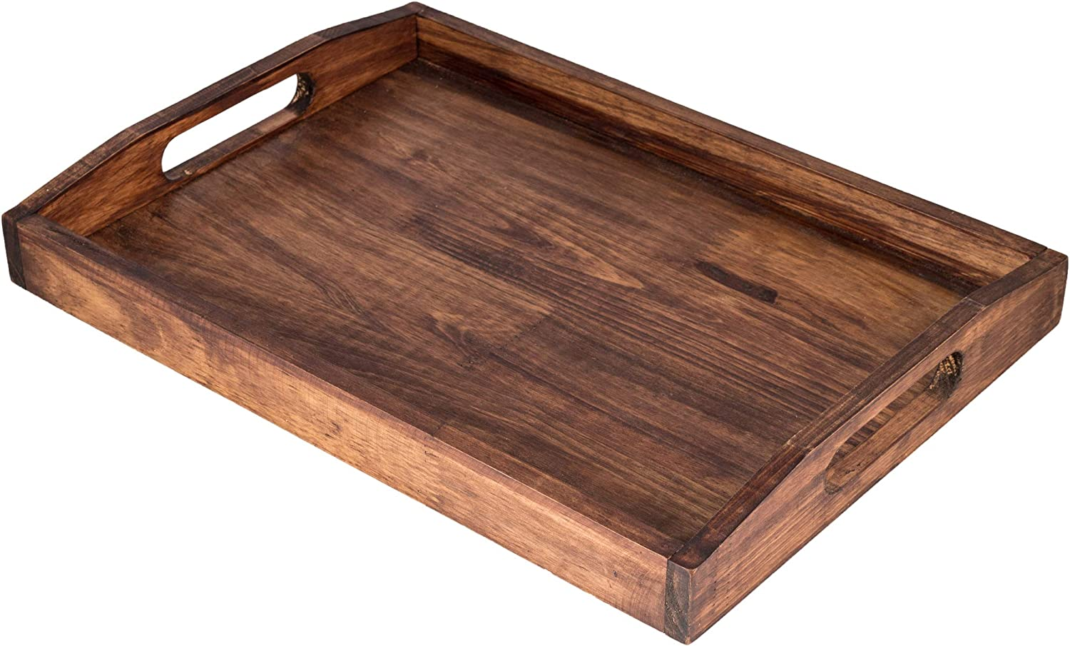 Large Serving Tray Wooden Rustic 16.54 x 11.81 x 1.96 Inch With Handles Fruit Food Breakfast Coffee Cupcake Decorative Dinner Party