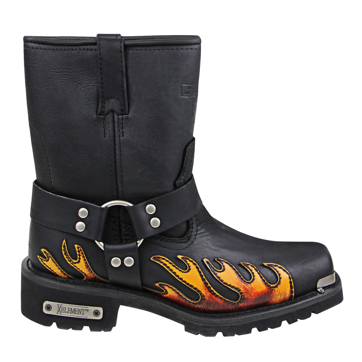 ceb1eb099ce Xelement 1490 Mens Black Harness Motorcycle Boots with Flame - 10