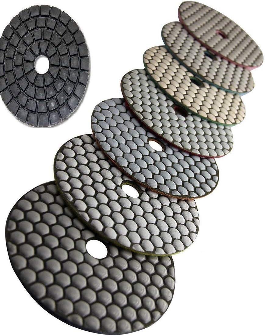 "4/"" Diamond Granite Stone Polishing 16 Pad Rubber Back Glaze Buff Concrete Cement"