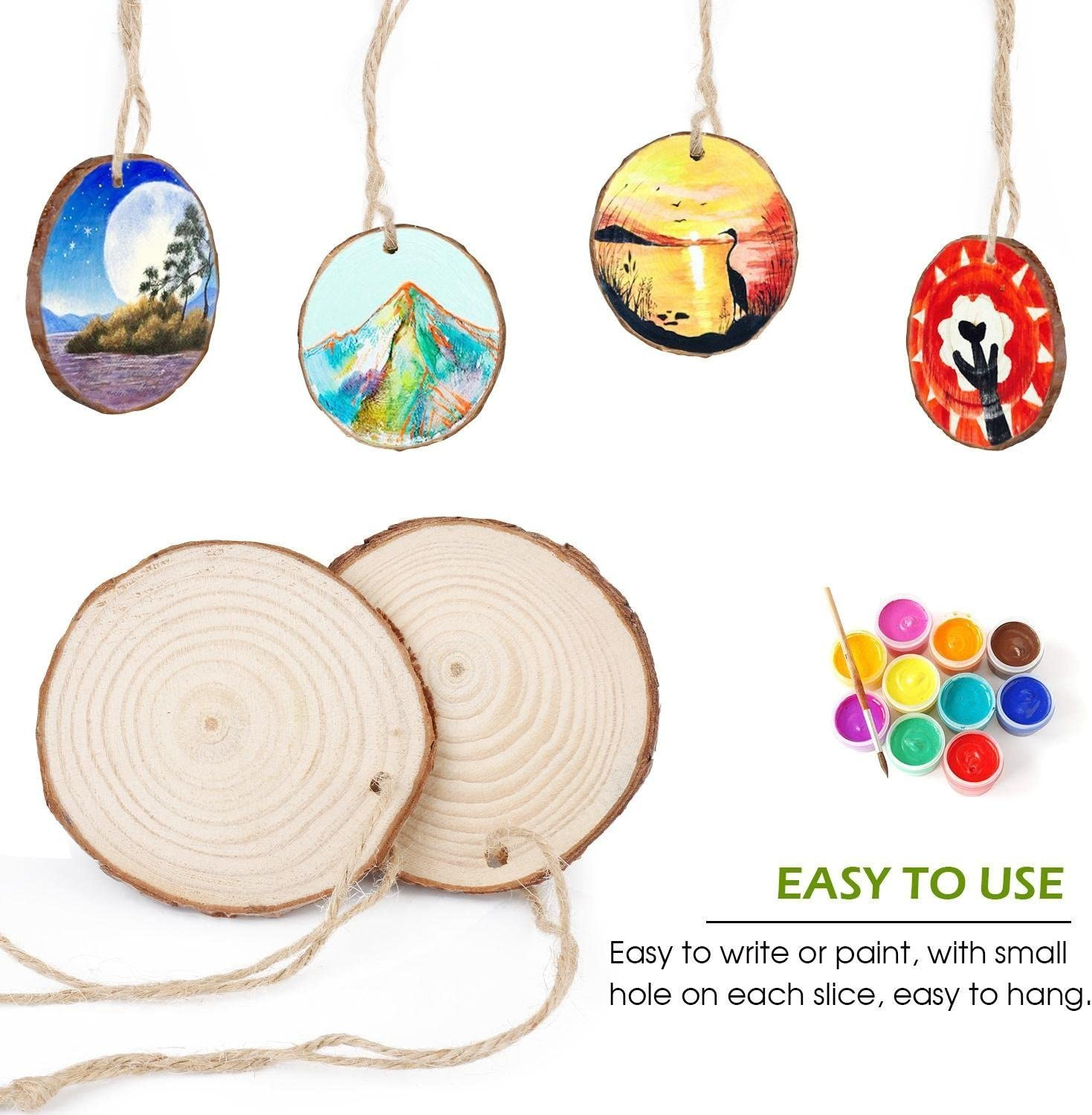 50pcs 1.9-2.4 Wood Slices with Holes and 33 Feet Natrual Jute Twine for DIY Crafts Centerpieces by MAIYUAN