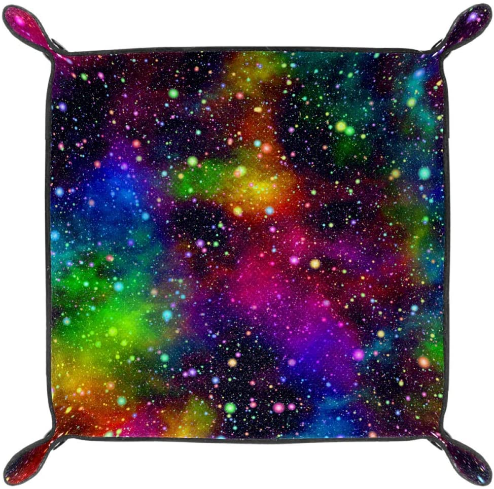 PU Leather Dice Holder Rolling Trays for RPG Dice Gaming D/&D and Other Table Games Night Starry Sky Rainbow Colors Folding Dice Tray