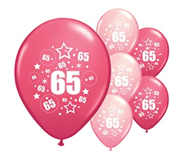 10 X 65th BIRTHDAY BALLOONS AGE 65 PINK AND LIGHT MIX 12quot HELIUM