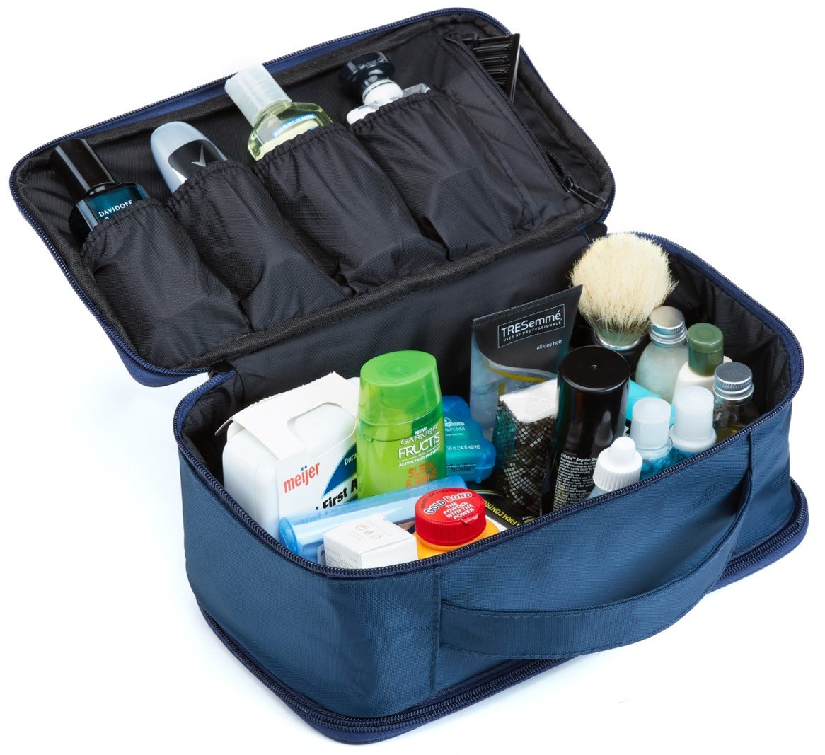 Mens Travel Toiletry Bag for Men Travel Case for Toiletries Bag by Ramaka Solutions Dopp Kit Travel Bags for Toiletries Stain Proof Nylon Toiletry Bag for Women 10.5 X 5 X 5.5 Inches Navy Blue
