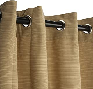 product image for Sunbrella Outdoor Curtain with Nickel Plated Grommets - Dupione Bamboo - 54 in X 84 in