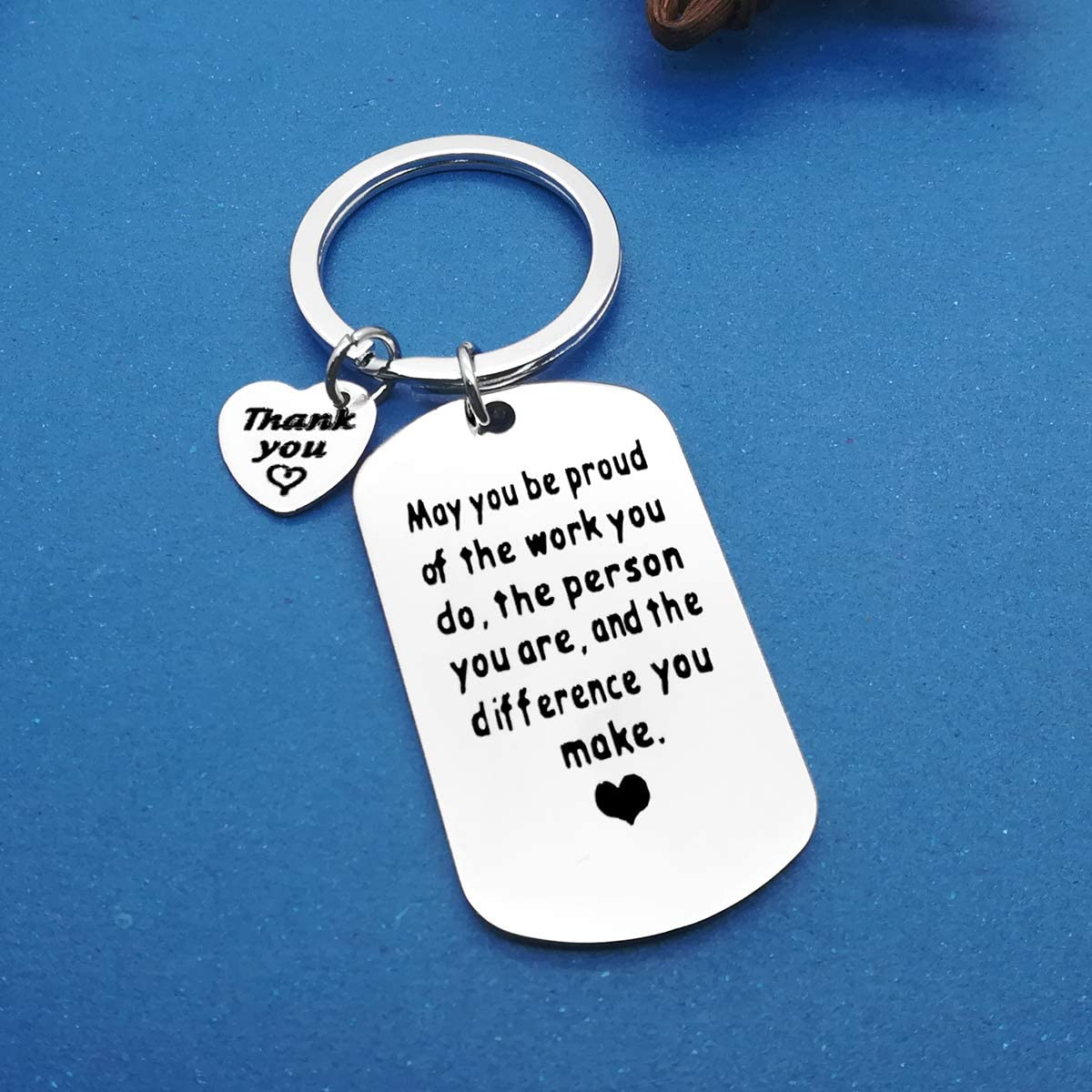 Thank You Gift Keyring Appreciation Jewelry Make A Difference Keychain Gift for Volunteer Appreciation,Coach Mentor Gift,Employee Gift,Social Worker Jewelry Gift Stainless Steel Keyring