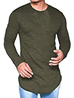PiePieBuy Men's Crewneck Long Sleeve Basic Hipster Hip Hop SWAG Curved Hem T-Shirt