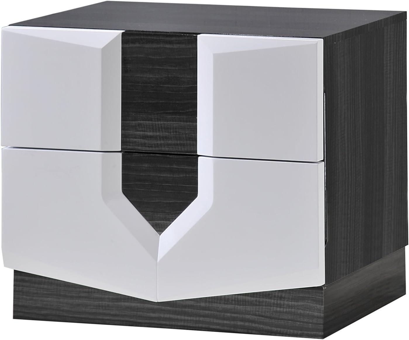 Global Furniture Hudson Nightstand, Zebra Grey and White