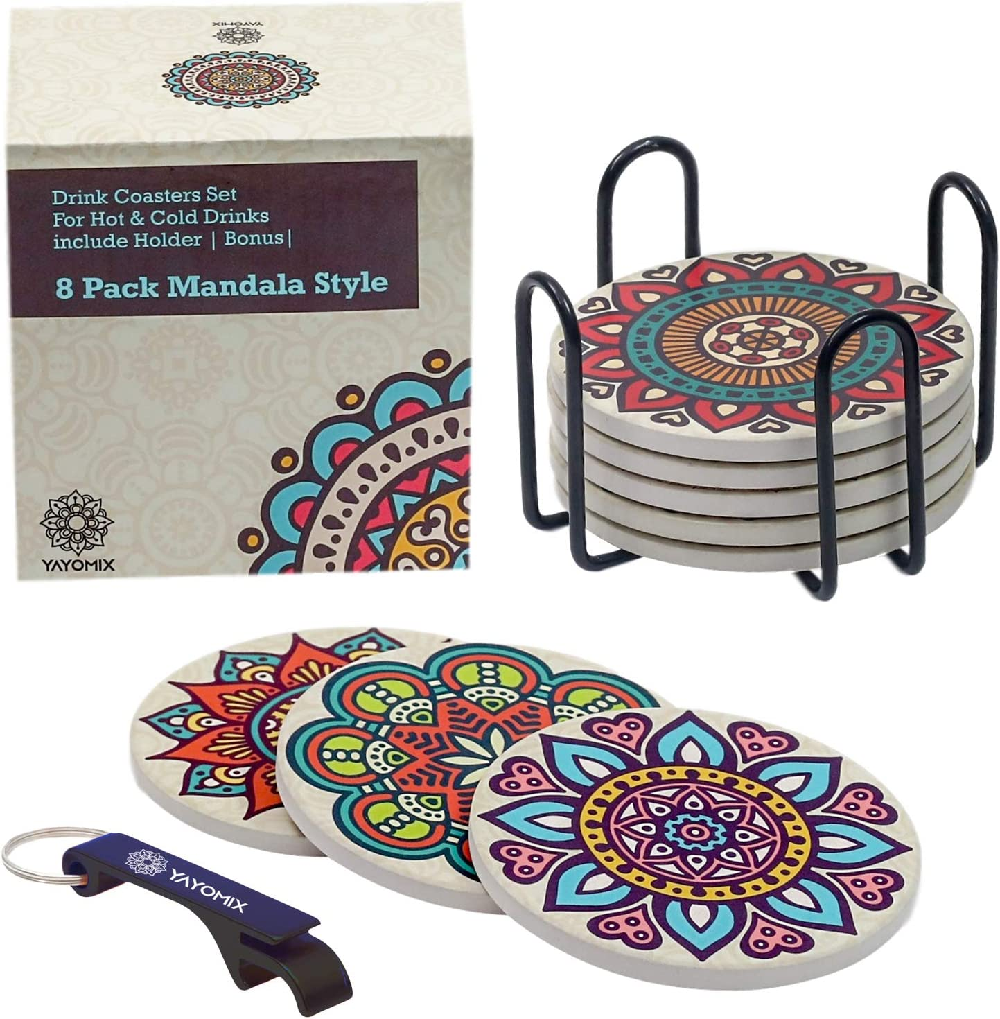 8 Absorbent Stone Coasters with Colorful Mandala Design and Elegant Black Metal Holder to Protect your Furniture - For Hot or Cold Beverages