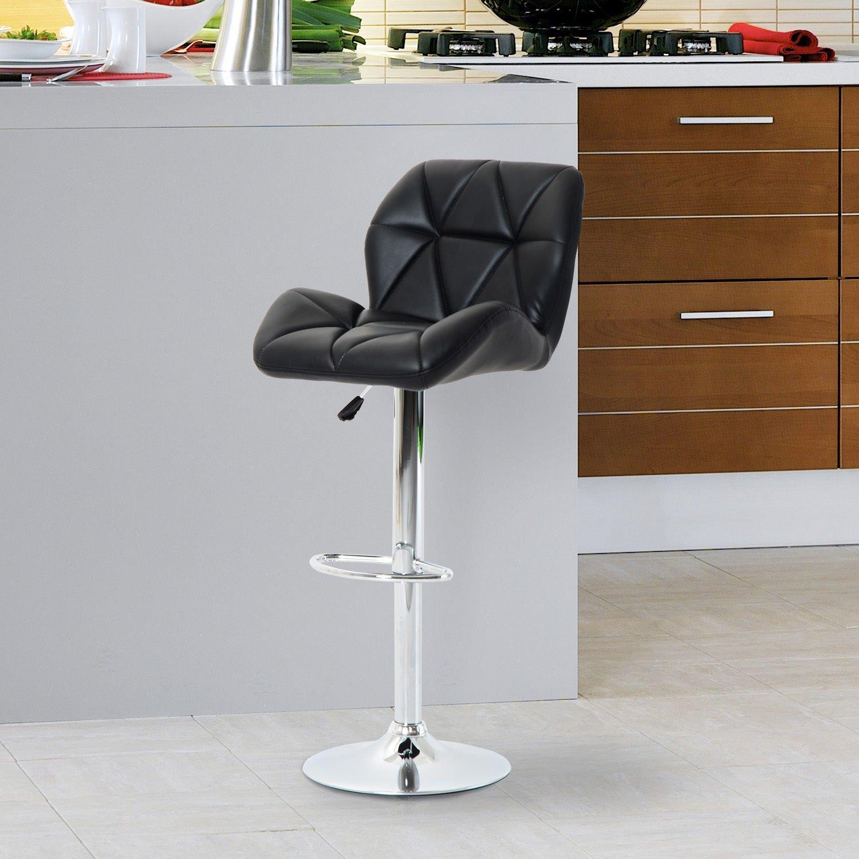 HOMCOM Diamond Design Swivel Leather Bar Stool Breakfast Barstool Kitchen Pub Dining Chair Gas Lift PU Chair Metal Chrome Base Adjustable Height White