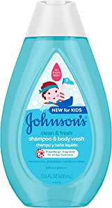 Johnson's Clean & Fresh Tear-Free Children's Shampoo & Body Wash, Paraben-, Sulfate- & Dye-Free Formula is Hypoallergenic & Gentle on Toddler's Sensitive Skin, FreshBoost Fragrance, 13.6 fl. oz