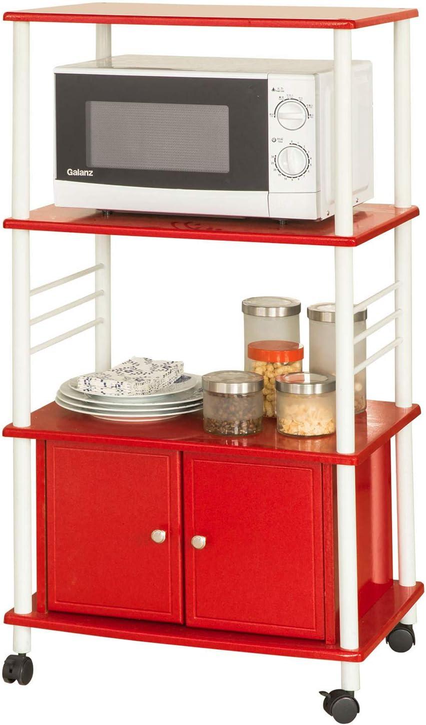 SoBuy® FRG10-R Meuble de Rangement Cuisine Roulant Chariot de Cuisine de  Service Micro-ondes Desserte Micro-Onde à roulettes en Bois