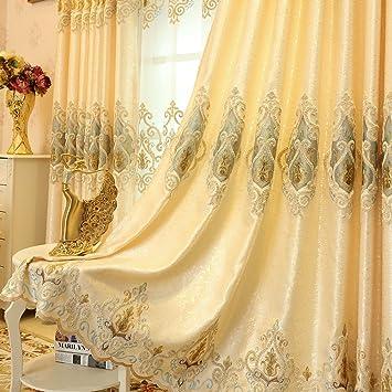 2er Set Europäische Goldene Luxuxjacquard Vorhänge Für Schlafzimmer  Wohnzimmer (230*140 Cm