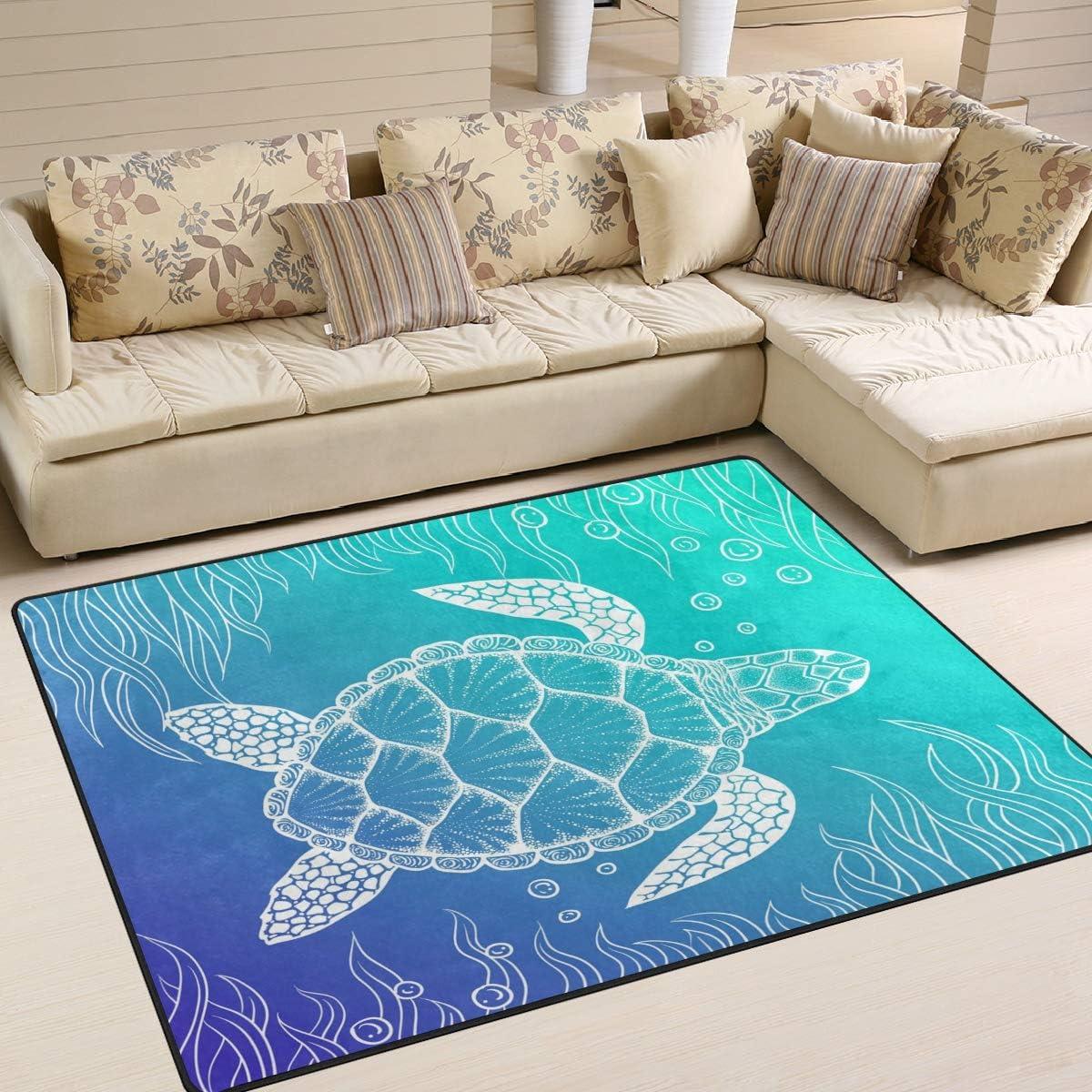 ALAZA Art Stylish Sea Turtle Area Rug Rugs for Living Room Bedroom 7 x 5