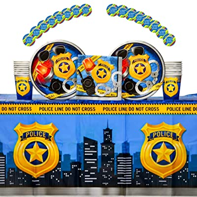 Police Party Supplies Pack for 16 Guests Including Paper Cups, Paper Dinner Plates, Paper Lunch Napkins, Stickers, and Plastic Table Cover (Bundle for 16): Toys & Games