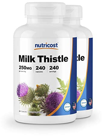 Nutricost Milk Thistle 250mg 240 Capsules 2 Bottles
