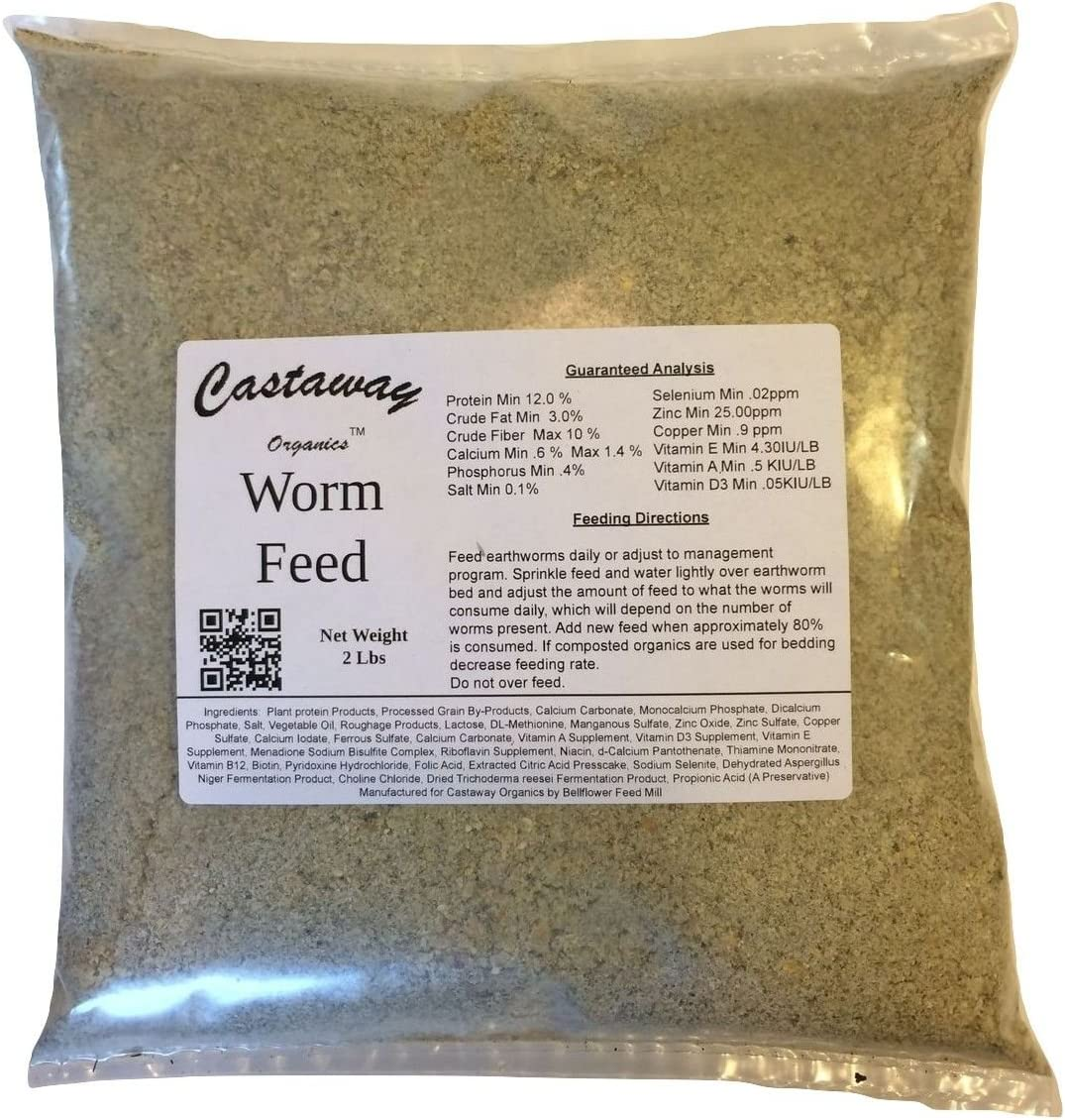 Castaway Organics 2 lbs Worm Feed (Worm Chow Food for All Composting and Bait Worms)