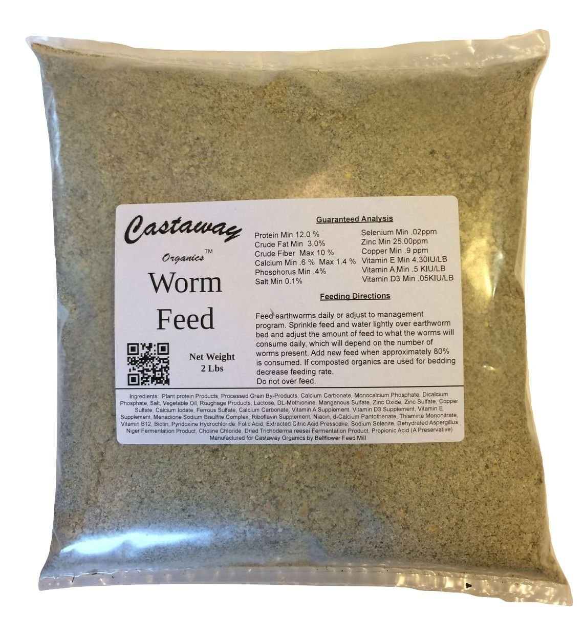 Castaway Organics 2 lbs Worm Feed (Worm Chow Food for All Composting and Bait Worms) by Castaway Organics