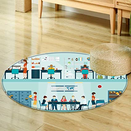 Amazon Com Non Slip Round Rugs Office People With Office Desk And