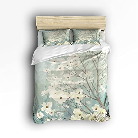 Libaoge 4 Piece Bed Sheets Set, Flowering Dogwood Blossoms Print, 1 Flat  Sheet 1
