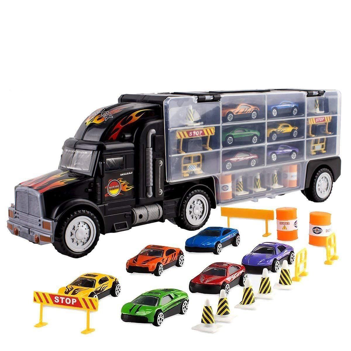 Toy Truck Transport Car Carrier Toy for Boys and Girls age 3 - 10 yrs old - Hauler Truck Includes 6 Toy Cars and Accessories - Car Truck Fits 28 Car Slots - Ideal Gift For Kids MEGATOYBRAND