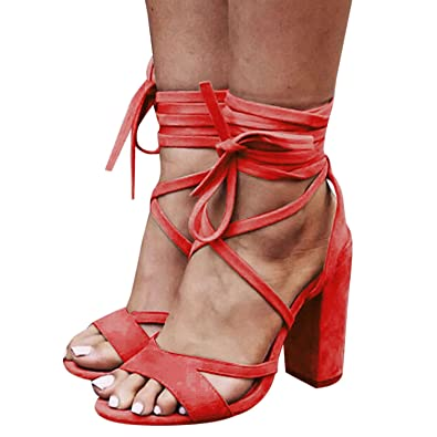 21e013bfed12 Womens Chunky Heel Sandals Peep Toe Shoes Lace Up Party Beach Sandals Red  6.5 US