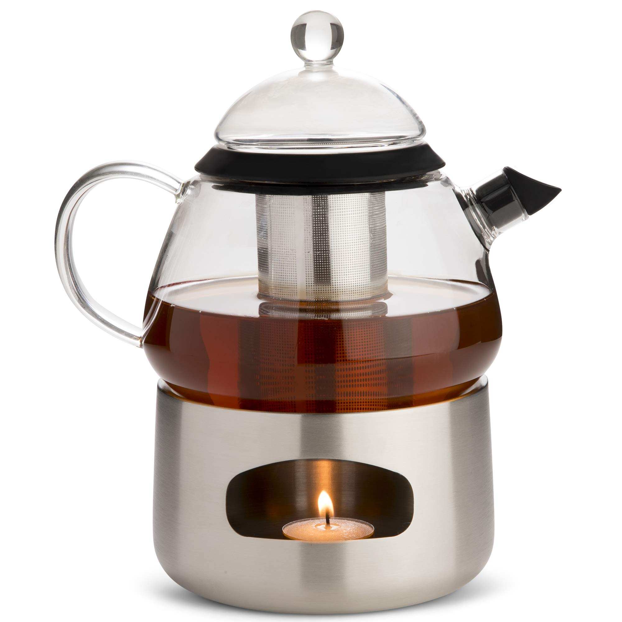 Elfin Glass Teapot with Infuser and Warmer - Blooming, Flowering and Loose Leaf Tea Maker Gift Set