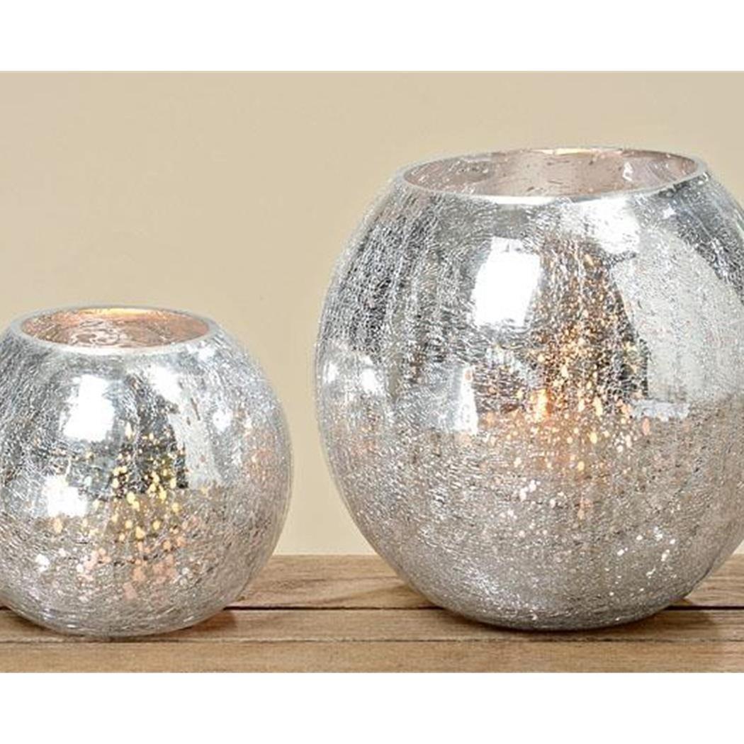 BOLTZE Glas Windlicht 'craquele' in silber Höhe ca. 16 cm