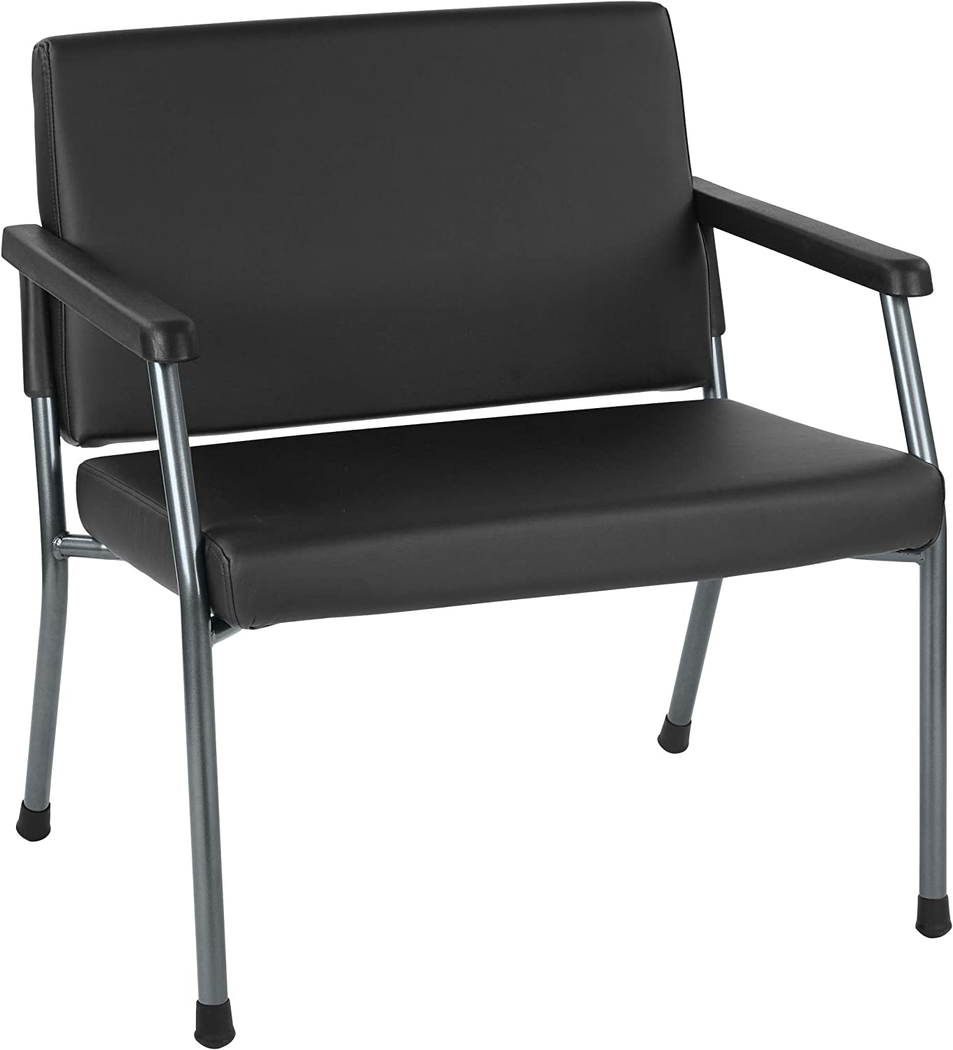 "Office Star Bariatric Big and Tall Medical Office Chair with Oversized 29"" Wide Seat and Sturdy Metal Frame with Back Reinforcement, Dillon Black Faux Leather Fabric, 500 Pound Capacity"