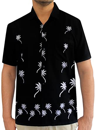 1a28941c LA LEELA Aloha Hawaiian Tropical Beach Solid plain Mens Casual Short  Sleeves Button Down Tropical Shirts