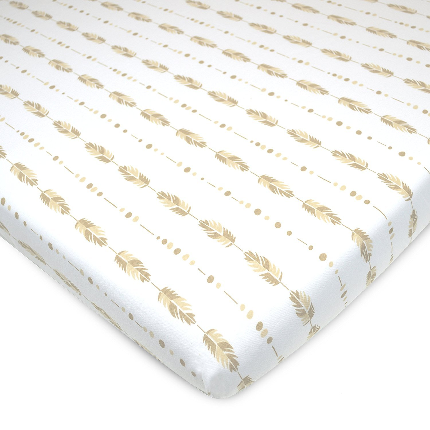 American Baby Printed 100% Natural Cotton Jersey Knit Fitted Pack N Play Playard Sheet, Taupe Feathers, Soft Breathable, for Boys and Girls American Baby Company 3556-Feather