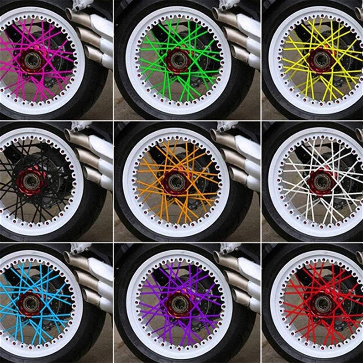 Blue Shangwelluk 36Pcs//Pack Bike Wheel Motocross Spoke Skins Rims Covers