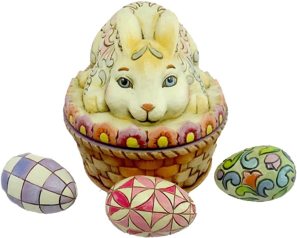 Jim Shore Tisket Tasket Bunny In A Basket Easter Bunny Box 3 Eggs Figurine
