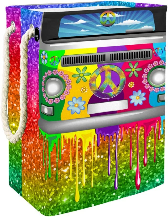DJROW Hamper Basket Old Style Hippie Van Dripping Rainbow Paint Mid 60S Youth Revolution Movement Theme Built-in Lining with Detachable Brackets Well-Holding Upgrade Foldable Laundry Hamper
