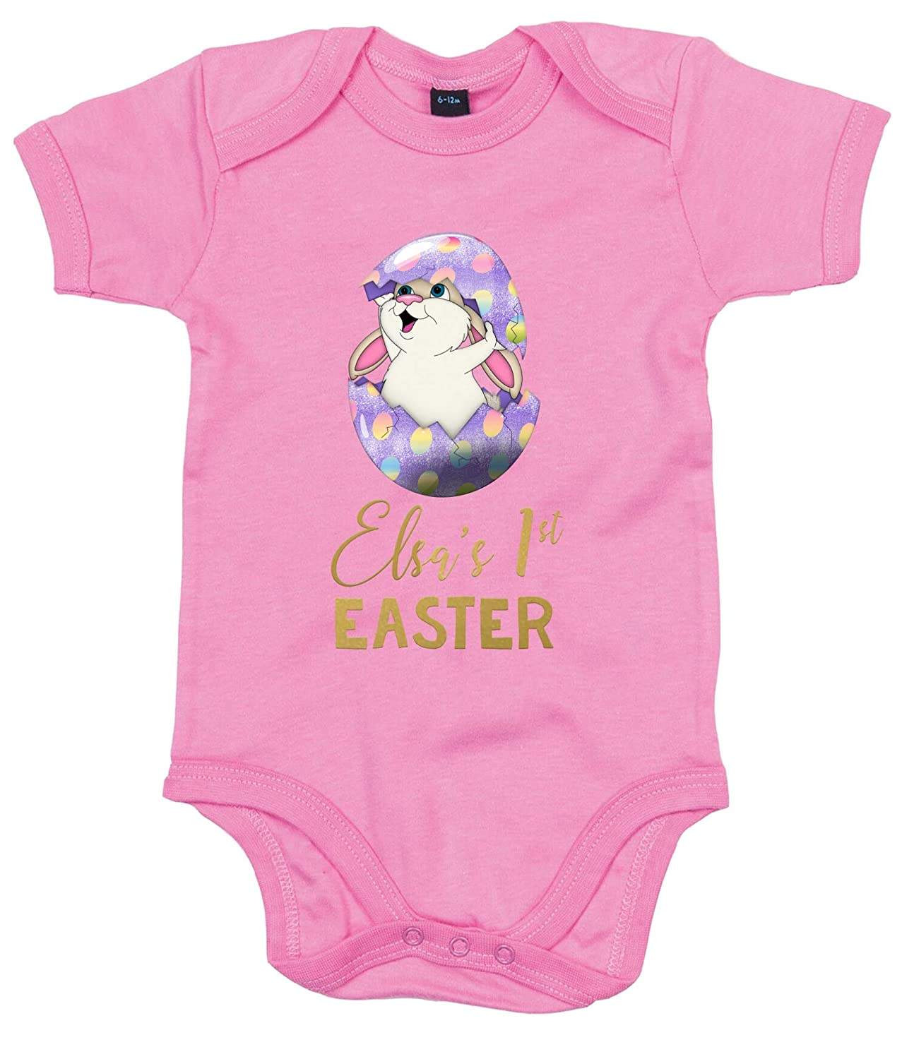 FunkyShirt Custom Baby Grow with Baby Name First Easter Bunny Easter Egg Novelty Baby Grows Baby Girl My First Easter Gift Boy My First Time Rabbit Shirt