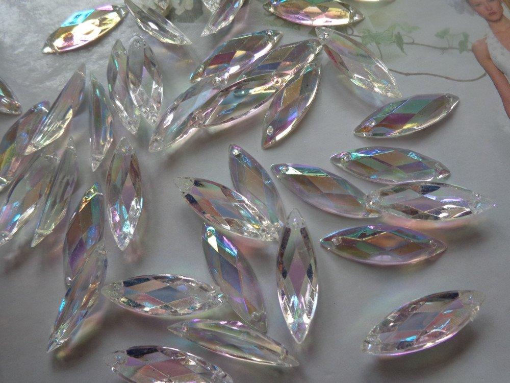 100pcs Navette forma Flatback Loose Gem piedra transparente AB Color coser en piedras brillantes 8/* 26/mm Cristal Accesorios