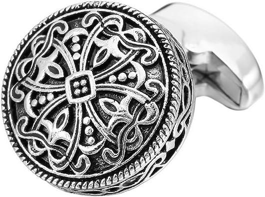 MunkiMix 2 Pieza Rodio Plateado Gemelos El Tono De Plata Negro Celta Celtic Cruzar Cruz Camisa Alianzas Boda Negocios 1 Coppia Conjunto Set Hombre: Amazon.es: Joyería
