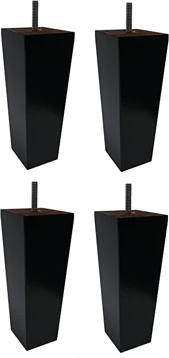"Elegent Upholstery 7"" Wood Tapered Pyramid Leg Dark Espresso Sofa/Chair/Ottoman [5/16"" Bolt] Replacement Legs - Set of 4"