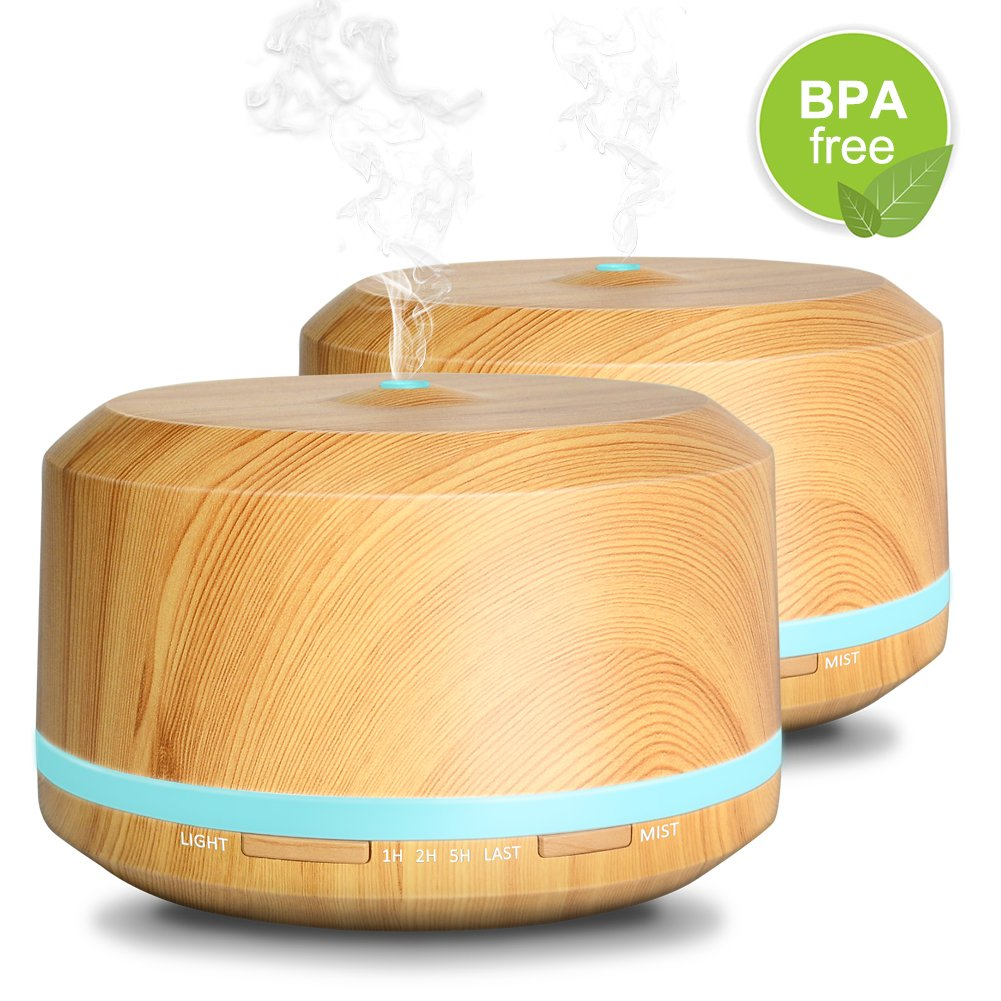 Essential Oil Diffuser 2 Pack, 450ML Ultrasonic Aromatherapy Wood Grain Oil Diffuser for Home Bedroom Office by Doukedge (2 Pack)