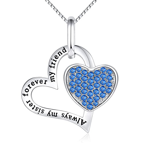 LYA Birthday Gifts Always My Sister Forever Friend Love Heart Necklace Jewelry