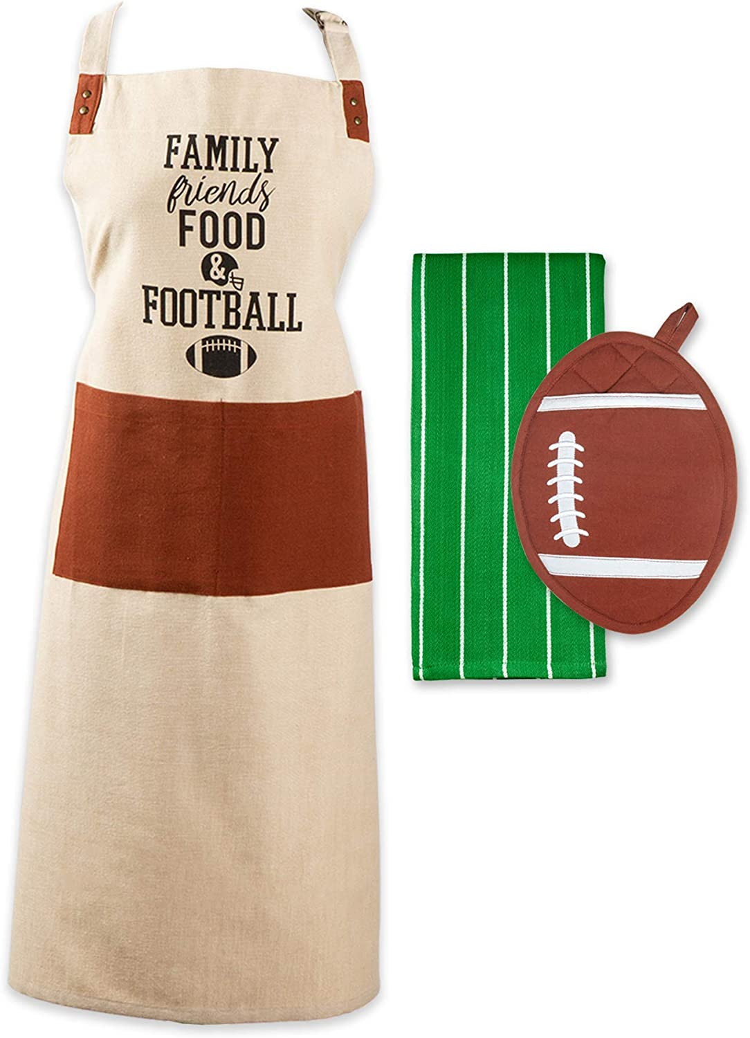 DII Everything Football Kitchen Collection, Set, Family, Friends, Food 3 Piece