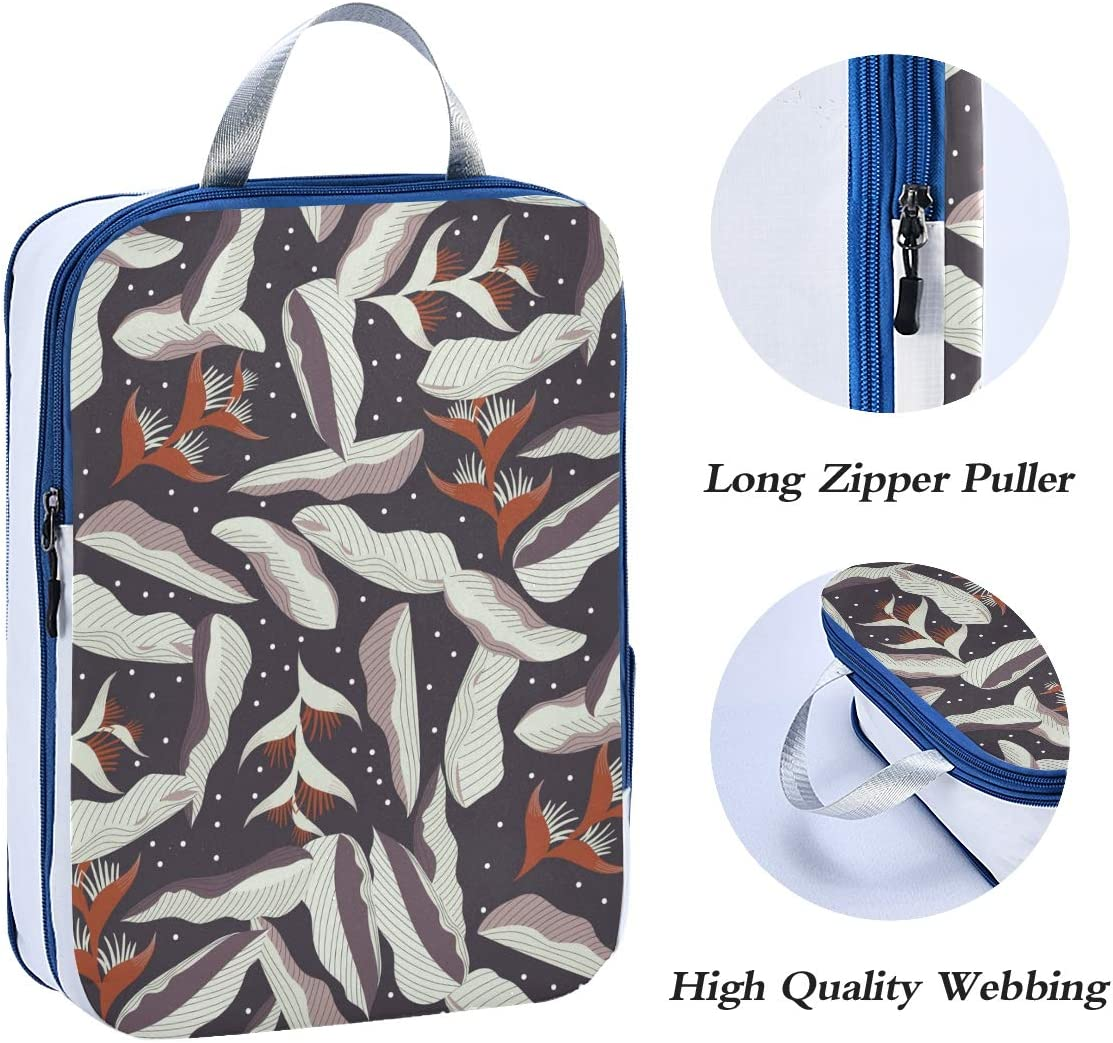 ATONO Tropical Palm Leaves Floral Abstract Style Travel Packing Cubes Luggage Organizer Bags Storage 3 Pack Sets Toiletries Shoe Bag for Business Trip Holiday Kids/&Adults