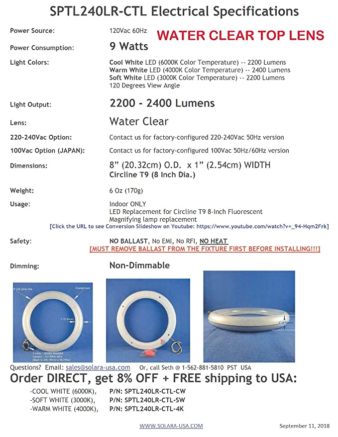 SOLARA-USA Our Brightest LED Circline T9 Lamp (8-inch) for Magnifying LAMP  - 120Vac 9Watts 2000Lumens - Non-DIMMABLE  P/N: SPTL240LR- (Clear TOP Lens