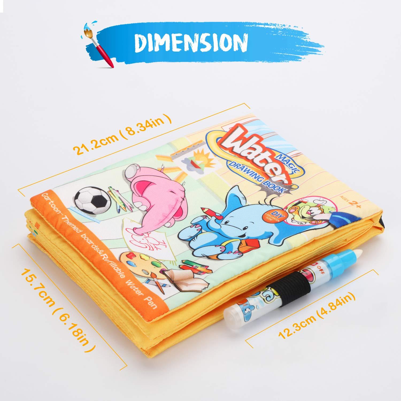 Fansteck Aquadoodle Livre Livre Dessin Eau Animation avec 1 stylos de leau Magiques,Jouet r/éutilisable dapprentissage d/éducation Jouet cr/éatif danniversaire Cadeaux pour Enfant Plus de 3ans
