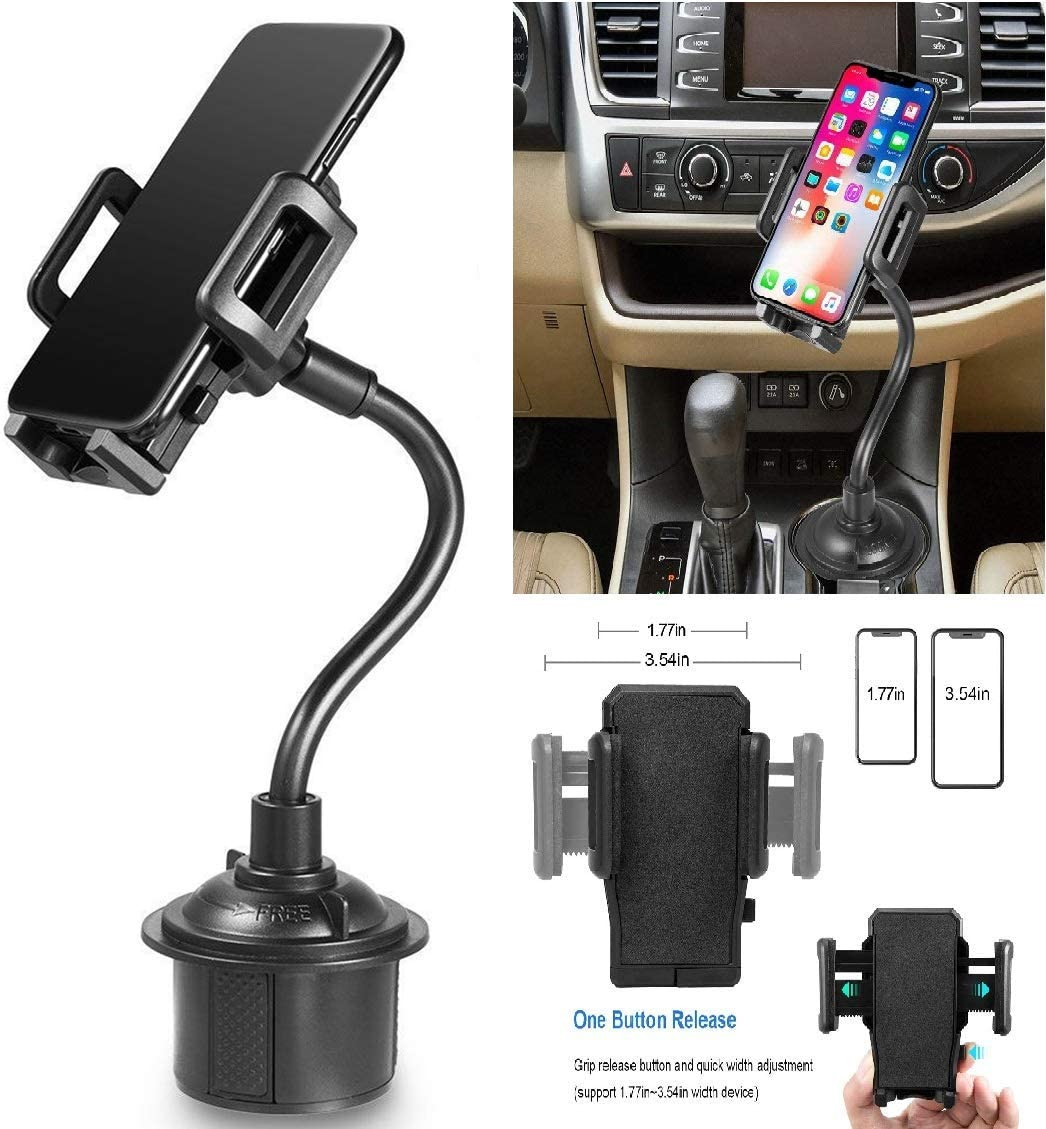 Black LG G8//G7//G6//G5//V40//V30//V20//V50 Cup Mount Universal Adjustable Portable Cup Holder Car Mount for All Cell Phones Coverlab Cup Phone Cradle