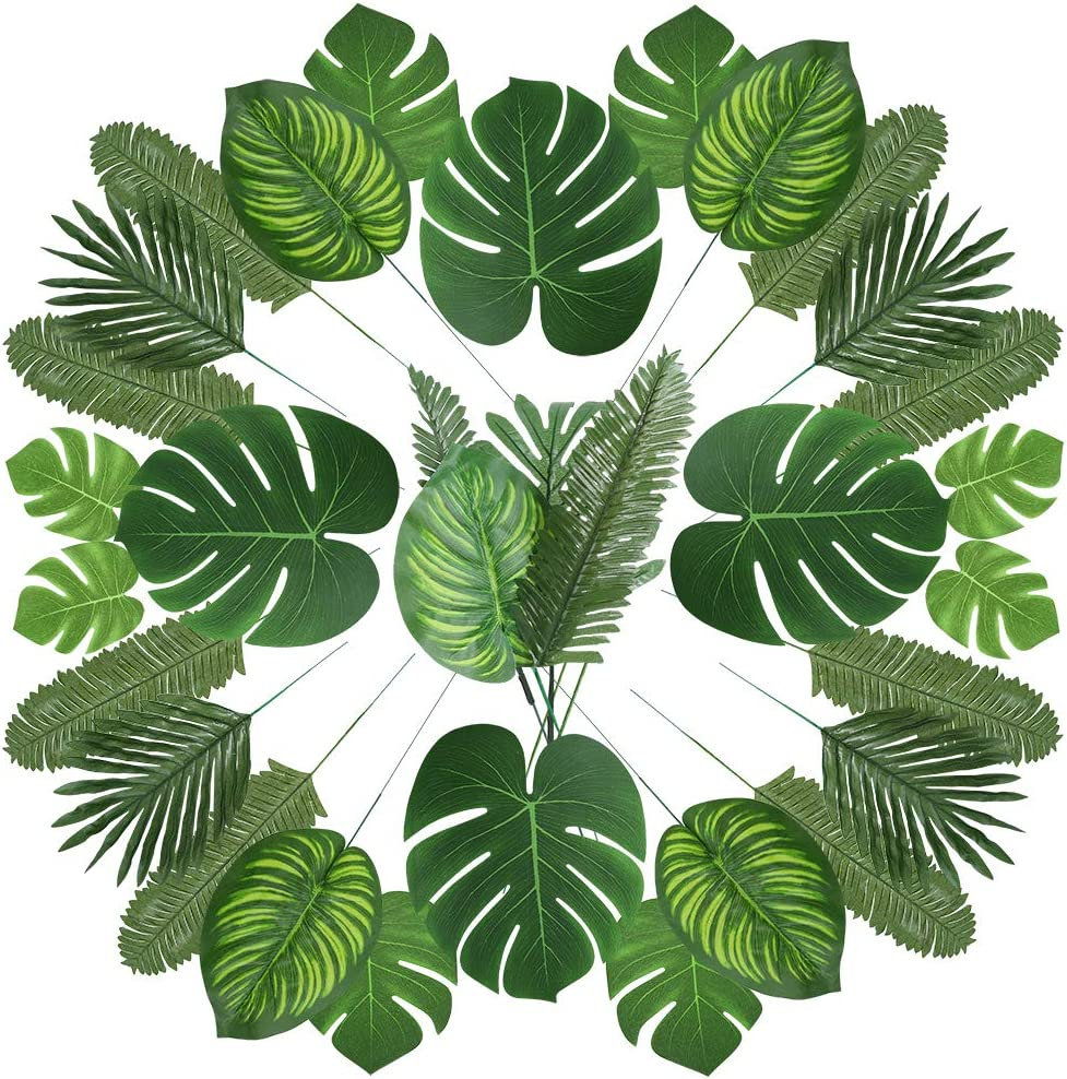 Amazon Com Auihiay 90 Pcs 6 Kinds Artificial Palm Leaves Tropical Party Decorations Jungle Leaves With Stem For Tropical Leaves Decorations Beach Birthday Jungle Party Palm Leaves Decorations Furniture Decor Green leaf on white sand during daytime. auihiay 90 pcs 6 kinds artificial palm leaves tropical party decorations jungle leaves with stem for tropical leaves decorations beach birthday jungle
