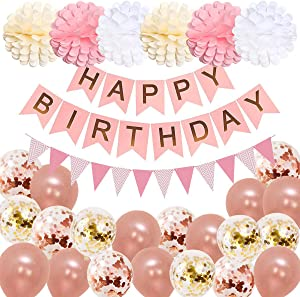 MuStar Happy Birthday Decorations Women,Happy Birthday Banner Birthday Party Supplies