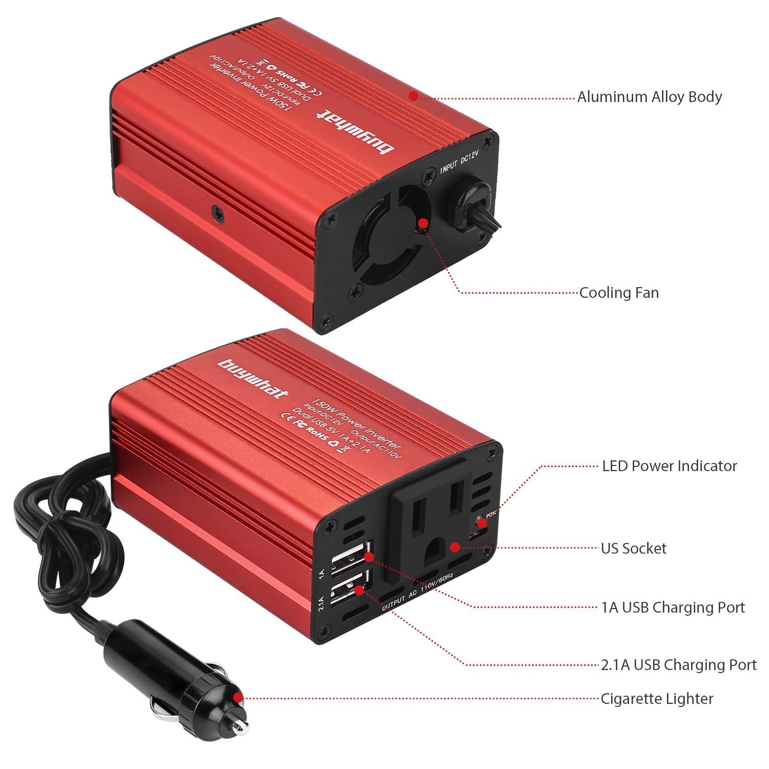 Buy What BW-150 150W Car Power Inverter DC 12V to 110V AC Outlet Converter 3.1A Dual USB Car Charger Adapter(Red) by Buywhat (Image #1)
