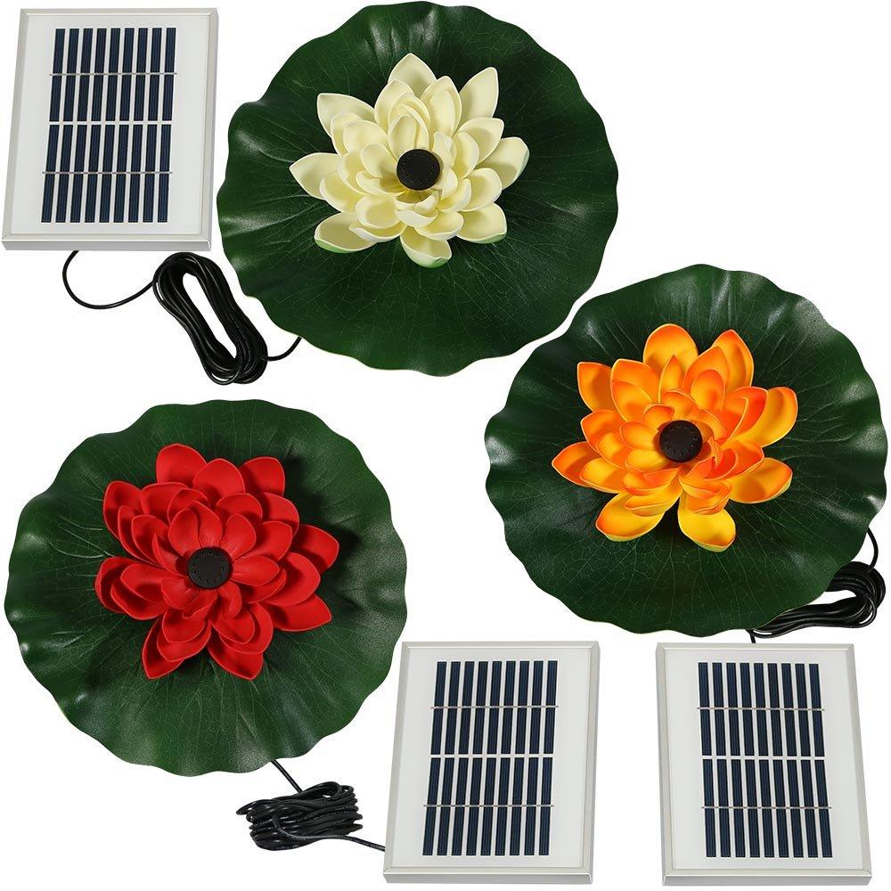 Sunnydaze Set of 3 Floating Lotus Flower Solar Power Water Fountain Kits, 48 GPH, Red, White, and Orange
