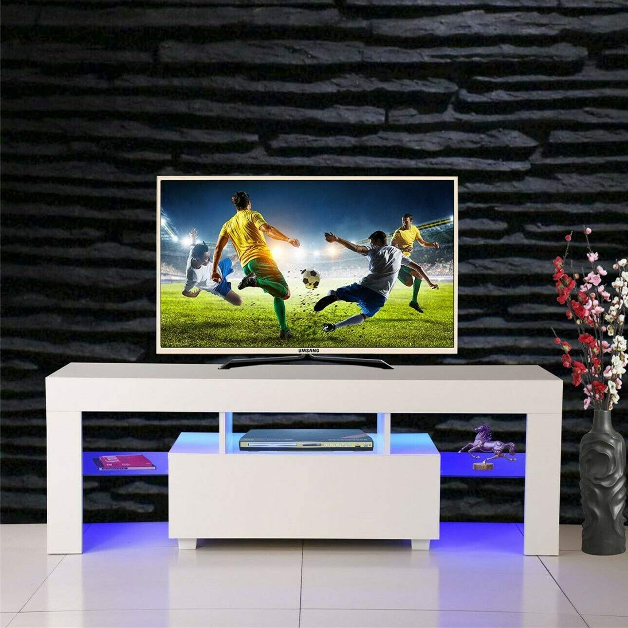 SSLine Modern White TV Stand with LED Light Wood Television Stand Media Storage Console Cabinet with Drawer and Shelves Entertainment Center Living Room Bedroom Furniture (Max for 52'' TV) by SSLine
