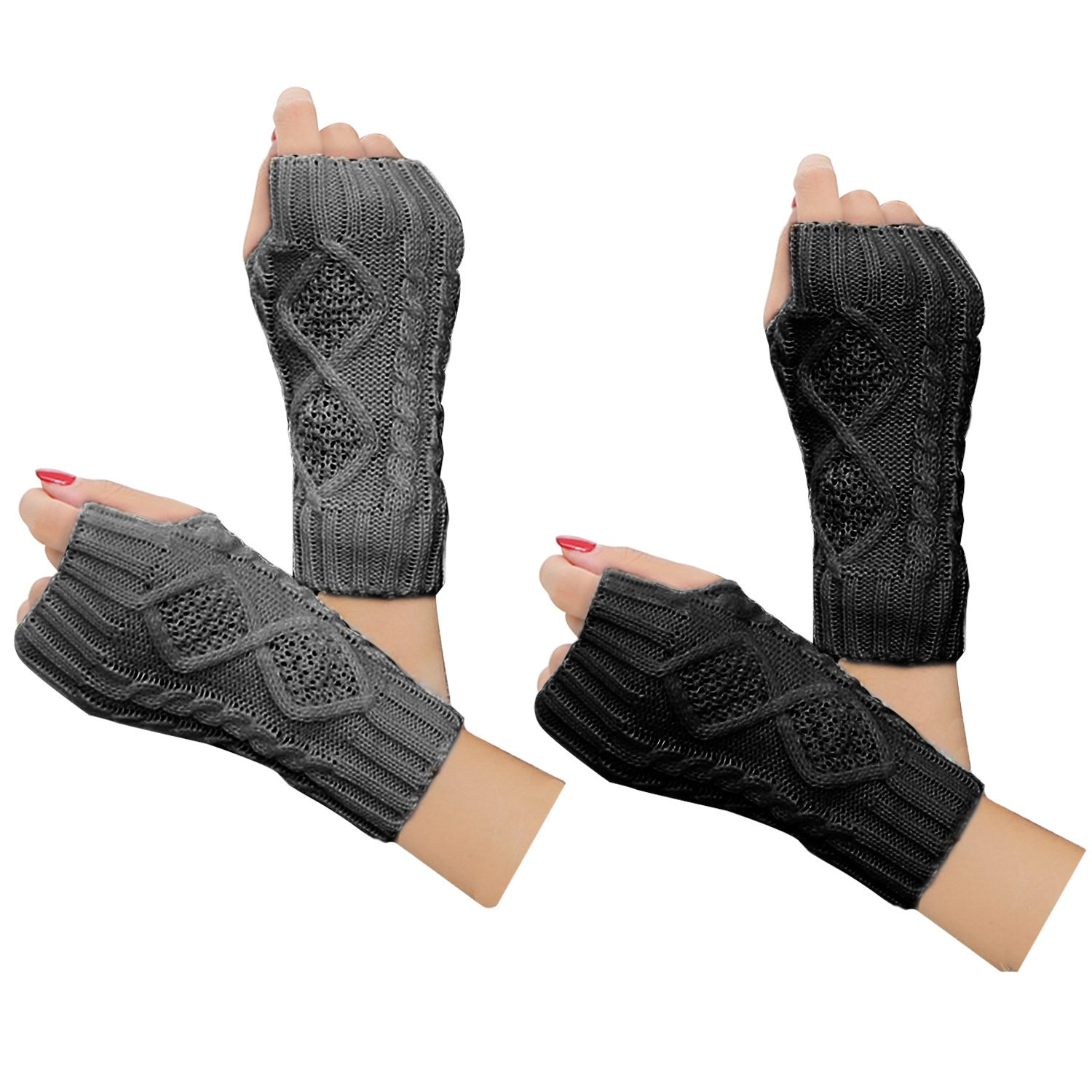 2 Pair Women's Hand Crochet Winter Warm Fingerless Arm Warmers Gloves Justay B073QGSHP5